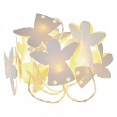 LED vánoční girlanda – andělíčci pap., 2× AA, teplá b., čas.