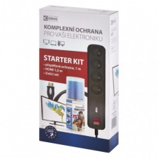 Starter kit II EMOS – přepěťová ochrana, čistící set, HDMI