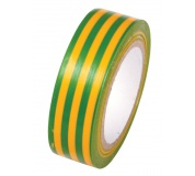 PVC páska žlutá s zel.pruhy 19x0.13x10M