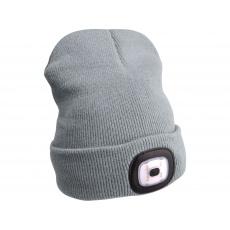 Čepice s čelovkou 45Im, nabíjecí, USB, šedá