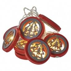 LED vánoční girlanda – stromky, 2× AA, teplá bílá, čas.