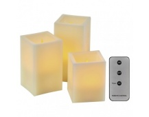 LED dekorace – 3× svíčka hranatá, 3× 3×AAA, ovladač, časovač
