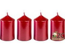 Svíčka adventní 40x60 mm - metalická červená (4ks)