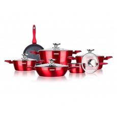 BANQUET Sada nádobí s nepřilnavým povrchem METALLIC RED, 11 ks