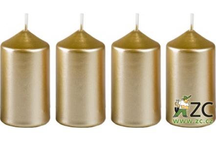 Svíčka adventní 40x75 mm - metalická bílé zlato (4ks)