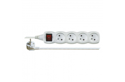 Prodlužovací kabel s vypínačem – 4 zásuvky, 2m, bílý