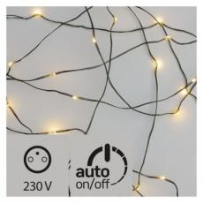 LED vánoční nano řetěz zelený, 4m, venkovní, teplá b., čas.