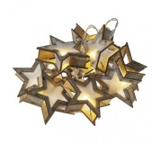 LED vánoční girlanda – hvězdy 3D, 2× AA, teplá bílá, časovač