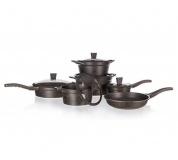 BANQUET Sada nádobí s nepřilnavým povrchem GRANITE Dark Brown, 11 ks