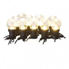 LED světelný řetěz – 10x párty žárovky čiré, 5 m, venkovní i vnitřní, teplá bílá