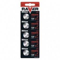 Lithiová knoflíková baterie RAVER CR2016 - 5ks