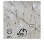 LED vánoční nano řetěz stříbrný, 4m, venkovní, stud.b., čas.