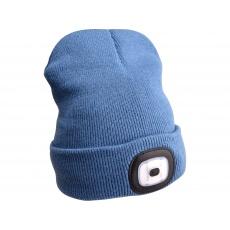 Čepice s čelovkou 45Im, nabíjecí, USB, modrá