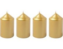 Svíčka adventní 40x60 mm - metalická zlatá (4ks)