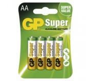 Alkalická baterie GP Super AA (LR6) - 4ks