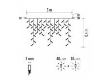 Profi LED spoj. řetěz problikávající – rampouchy 3m, s. bílá