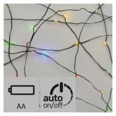 LED vánoční nano řetěz, 2× AA, 1,9m, multicolor, časovač