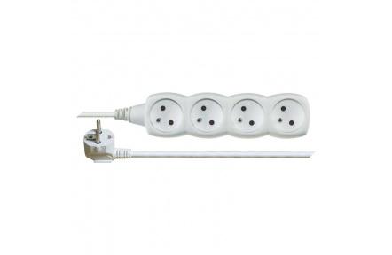 Prodlužovací kabel – 4 zásuvky, 5m, bílý