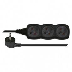 Prodlužovací kabel – 3 zásuvky, 3m, černý