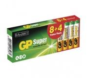 Alkalická baterie GP Super AAA (LR03) - 12ks