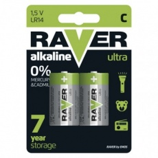 Alkalická baterie RAVER C (LR14) - 2ks