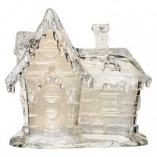 LED vánoční domek akrylový, 15cm, 3× AAA, teplá bílá