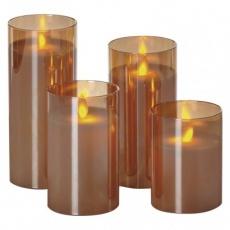 LED svíčky, 5×10/12,5/15/17,5cm, bílé, 2× AA, 4 ks