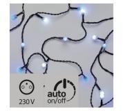 LED světelný cherry řetěz – kuličky, 4m, modrá/bílá, časovač