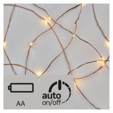 LED vánoční nano řetěz měděný,0,9m, 2× AA, teplá b., časovač