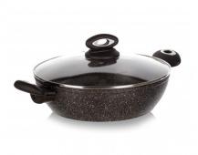 BANQUET Pánev Paella s nepřilnavým povrchem PREMIUM Dark Brown 28 x 7,5 cm, s poklicí