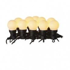 LED světelný řetěz – 10x párty žárovky mléčné, 5 m, venkovní i vnitřní, teplá bílá