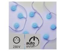 LED světelný cherry řetěz – kuličky 2,5cm, 4m, modrá, čas.